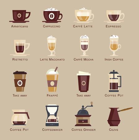 Coffee vector icon set menu. flat style