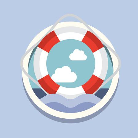 lifeline: Travel, flat style vector illustration sea conception