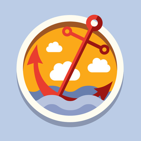Travel, relaxation, flat style vector illustration conception sea Illustration