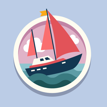 tall ship: Ship with sails. Travel, flat style vector illustration