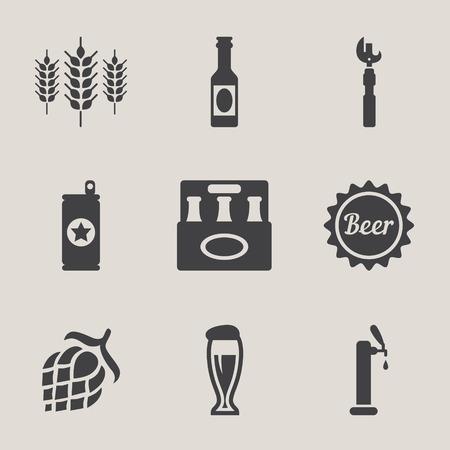 guinness: Beer vector icons set bottle, glass, pint