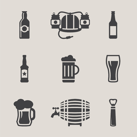 dark beer: Beer vector icons set bottle, glass, pint