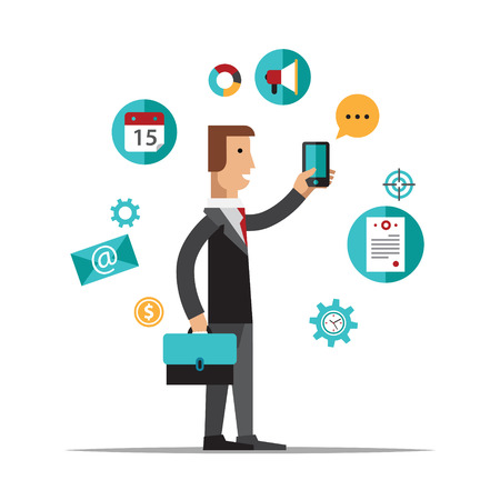 Businessman using mobile phone for business process organization, lifestyle routine and internet browsing. Isolated on white background. Flat design style modern vector illustration concept