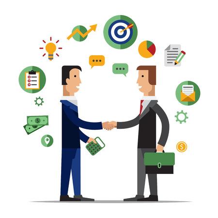 Asociación de éxito, la gente de negocios acuerdo de cooperación, el trabajo en equipo y la solución de apretón de manos de dos hombres de negocios aislados en fondo elegante. Estilo de diseño Flat vector moderno concepto de ilustración