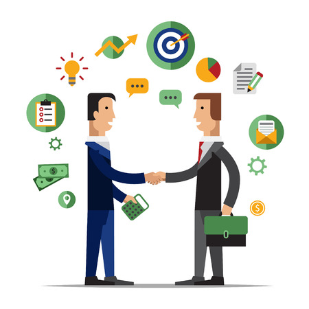 successful businessman: Successful partnership, business people cooperation agreement, teamwork solution and handshake of two businessman Isolated on stylish background. Flat design style modern vector illustration concept