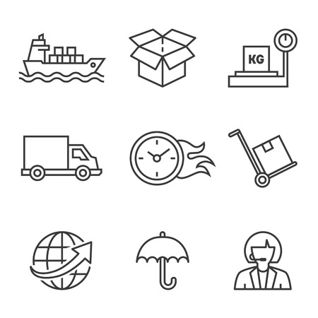 boxcar: icons on the topic of shipping, transportation, in a linear style vector Illustration