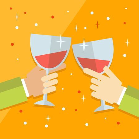 Vector flat modern concept illustration on celebration and party featuring multiple raised hands holding different champagne glasses, cheering  Simple corporate celebration event background flat design concept Illustration