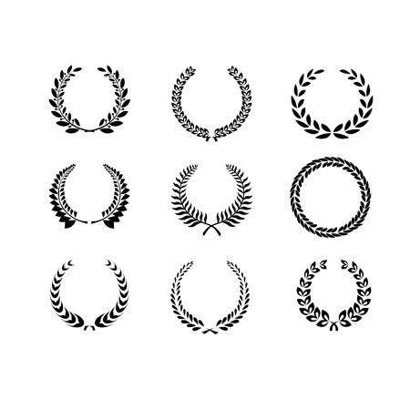 foliate: Set of black and white silhouette circular laurel  foliate and wheat wreaths depicting an award  achievement  heraldry  nobility and the classics  vector
