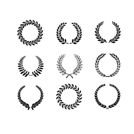 nobility: Set of black and white silhouette circular laurel  foliate and wheat wreaths depicting an award  achievement  heraldry  nobility and the classics  vector