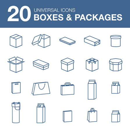 plasticity: Packaging icons Icons boxes simple linear style