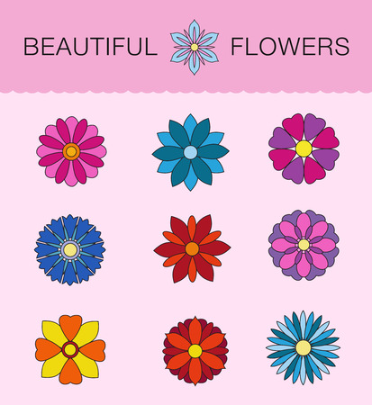pink and black: Illustration of flowers in graphic style modern design, blue, pink, black woodpecker, red