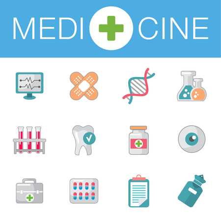 equivalence: vector icons on medicine science in flat style