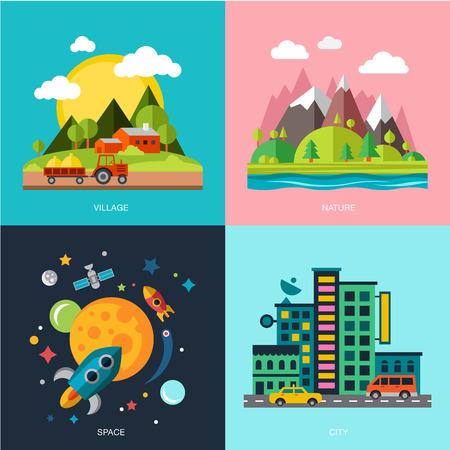 paisajes: la mejor oferta para su dise�o. Dise�o plano paisaje urbano ilustraci�n