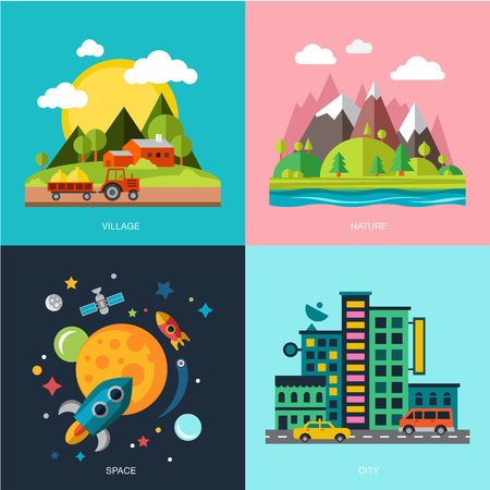 summer cartoon: the best deal for your design. Flat design urban landscape illustration
