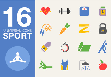 metrics: Sport and healthy life concept flat icon set of jogging, gym, food, metrics etc. Isolated vector illustration, modern design element flat style
