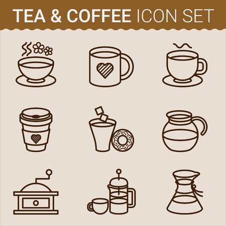 organized: Set of coffee icons. Vector illustration.Vector file is organized in layers for easy editing.