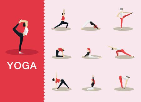 pilates: Yoga and Pilates poses in a selection of contemporary style flat Illustration