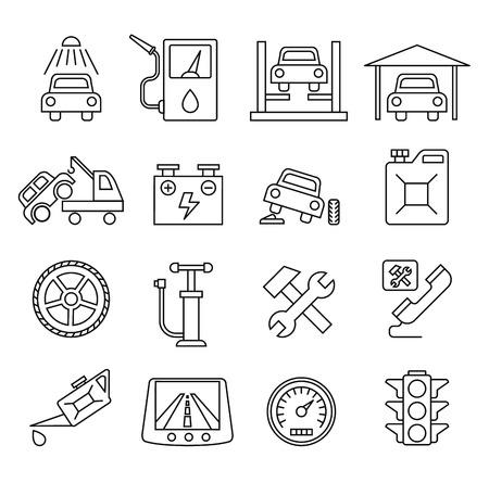 auto repair: Vector black auto icons set, car repair