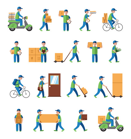 home moving: logistics, postman people. Flat style icon vector
