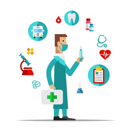 Doctor, Health care, medical items. Flat style icon vector