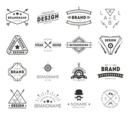 Design icon vintage. Retro Vintage Insignias set. Vector design elements, business signs, icons, identity, labels, badges and objects. Ilustração
