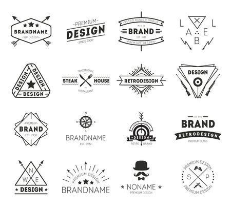 Design-Ikone Jahrgang. Retro Vintage Insignias gesetzt. Vector Design-Elemente, Business-Zeichen, Symbolen, Identität, Etiketten, Abzeichen und Objekte.