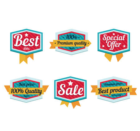 and is favorable: Emblem sale, discount super offer, favorable price, high quality sign and tape. Flat style icon vector