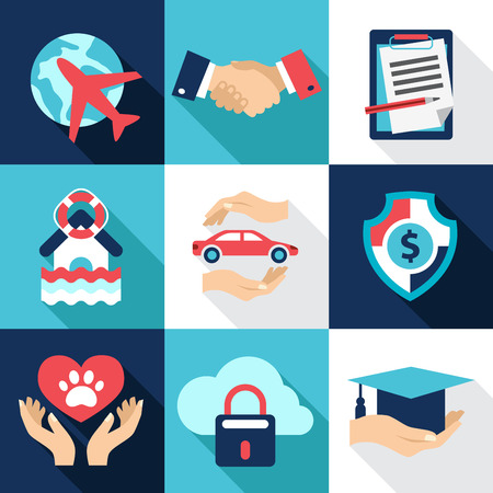 Asset protection, security. Flat style icon vector Stock Illustratie