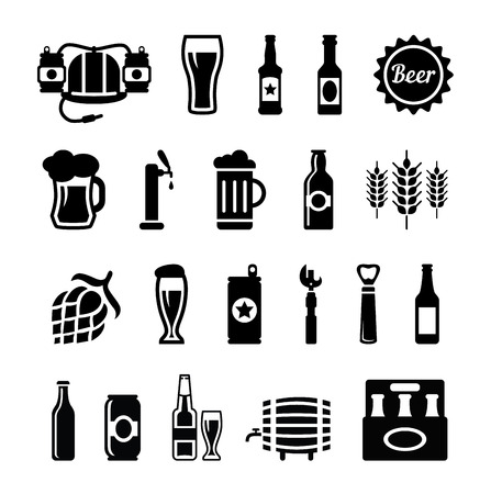 Set of beer icons vector, black on a white background