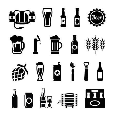 Set Bier Icons Vektor, schwarz auf weißem Hintergrund