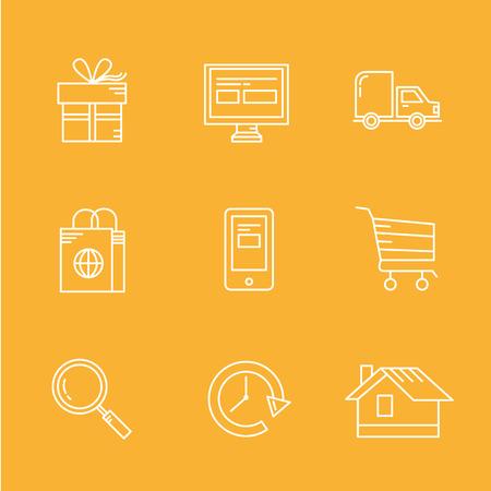 Internet Shopping Icon Set for e-commerce concept Vector