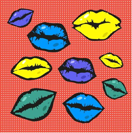 warhol: Pop art style vector lips colorful background Illustration