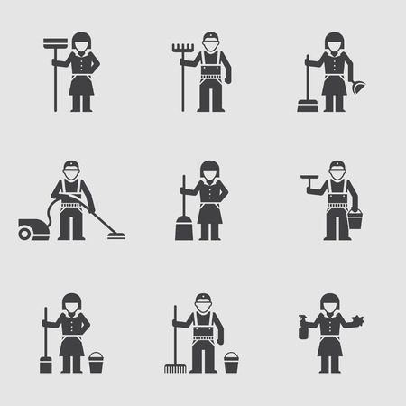 company people: vector icon flat, professional cleaning company people Illustration