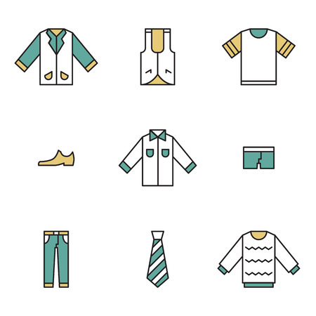Clothing, garments and accessories icons flat linear style Vector