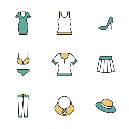 garments: Clothing, garments and accessories icons flat linear style Illustration