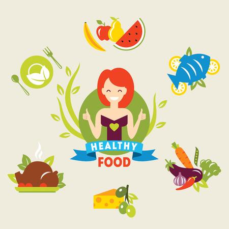 ダイエット。女の子の選択。健康的なライフ スタイル。ベクトル フラット イラスト