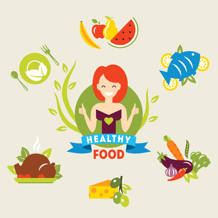 happy healthy woman: Diet. Choice of girls. Healthy lifestyle. Vector flat illustrations