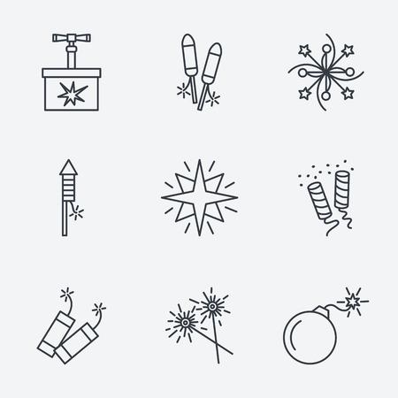 squib: Pyrotechnic set, thin line style, modern flat design Illustration