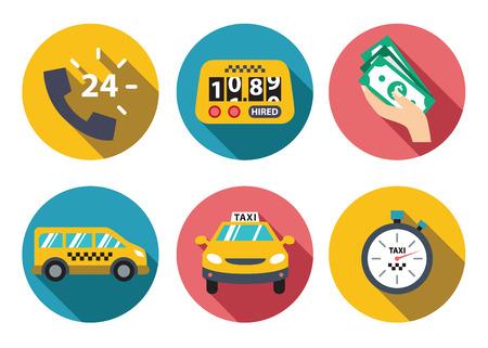 taxi: Taxi service set  vector illustration flat concept