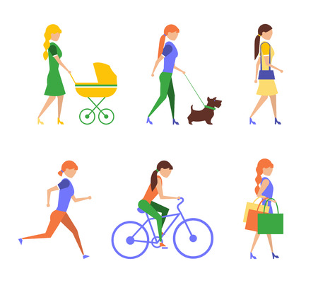 Healthy lifestyle. Physical activity flat set of extremely vigorously moderately active and sedentary