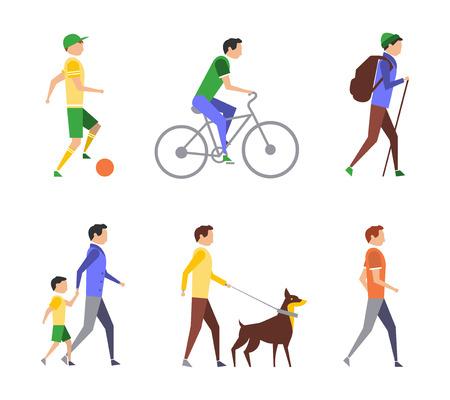 aktywność fizyczna: Zdrowy tryb życia. Aktywność fizyczna płaskim zestaw bardzo energicznie umiarkowanie aktywne i siedzący tryb życia Ilustracja
