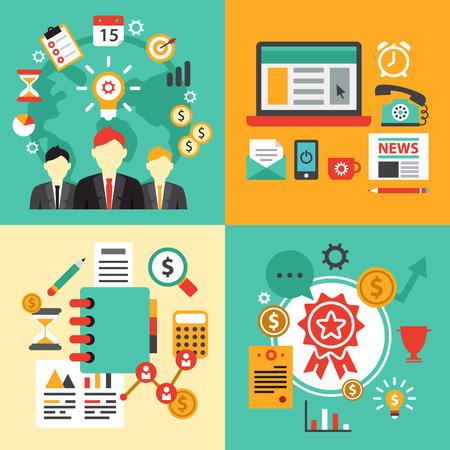 ビジネスのためのフラットなデザイン コンセプト アイコンのセットです。ウェブサイトの開発、携帯電話サービスのためのアイコン