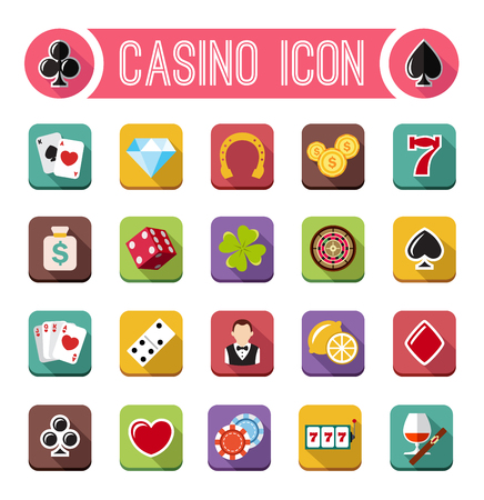 clover face: Vector casino flat icons, slot machine flat design Illustration