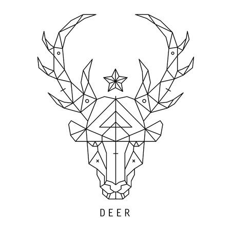 �deer: Silueta estilizada cabeza de ciervo con dise�o tri�ngulos.