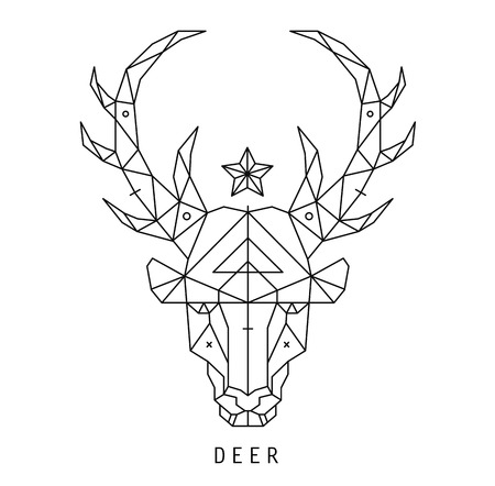 Stylized deer head silhouette with triangles design.