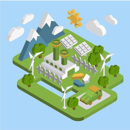 consumo energia: La natura del paesaggio. Appartamento 3d ecologia isometrica consumo di energia verde di energia rinnovabile allo sviluppo sostenibile di trasformazione concetto di web infografica vettore.