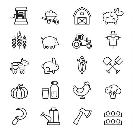 granja: Icono Granja vector estilo lineal simple, sobre un fondo blanco
