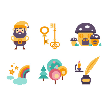 Collection of vector fairy tale elements, icons and illustrations Vector