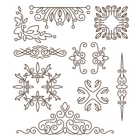 borde de flores: Monogramas, elementos de dise�o de l�nea de logotipos, marcos y bordes en conjunto de vectores estilo moderno Vectores