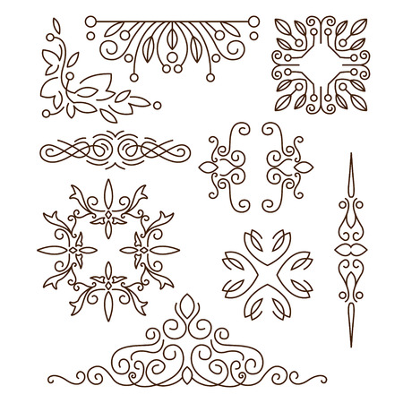 Monograms,line design elements for logos, frames and borders in modern style vector set